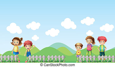 Five children in the farm