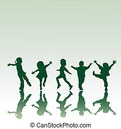Five children silhouettes