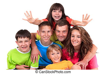 Five children with father