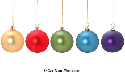 Five different colored christmas balls hanging from golden thread, Gold/Yellow, Red, green, blue, violet, shot in studio isolated on white. Perfect for your holiday designs or ads