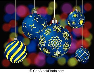 Five Christmas balls with different patterns