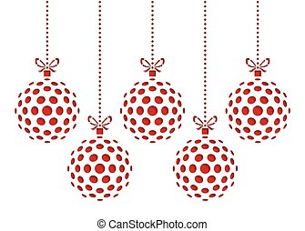 Five christmas ornaments drawn by dots. Template for laser cutting. Greeting card for new year celebration. Christmas card.