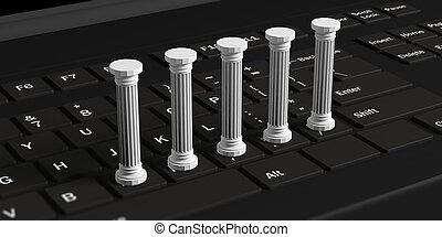 Five classical pillars on a black computer keyboard. 3d illustration