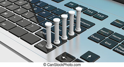 Five classical pillars on a computer keyboard. 3d illustration