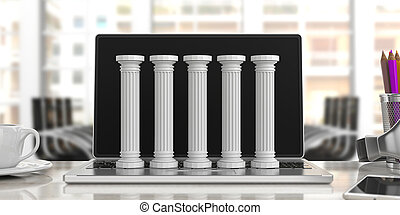Five classical pillars on a computer, office background. 3d illustration