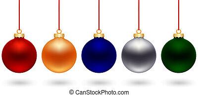 five color christmas ball