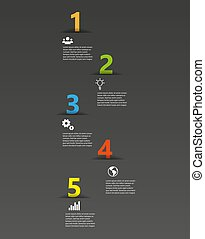 Five color numbers template with place for your text - vector