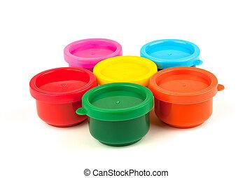 Five color paint cans