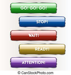 Five colored buttons for sites. Vector illustration.