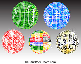 mirror balls - five colored mirror balls