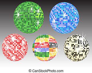 five colored mirror balls