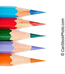 Five colored pencil line