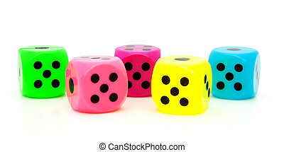 five colorful dice
