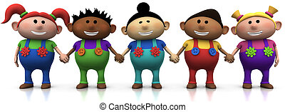 kids holding hands - five colorful multi-ethnic cartoon kids...