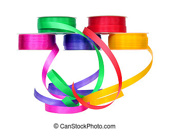 colorful ribbon rolls
