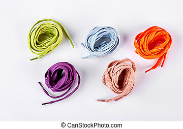 Five colorful round shoe laces. Set of multicolored shoe...