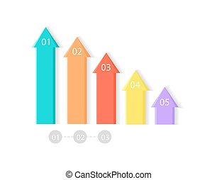 Five Colorful Upward Arrows Vector Illustration