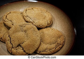 Five cookies on a plate