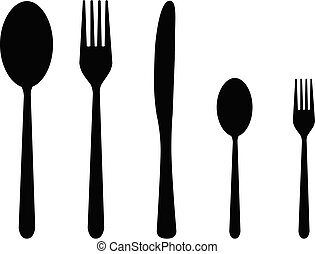 five cutlery - silhouettes of five covered