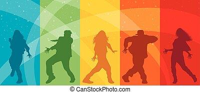 Five dancing teenagers