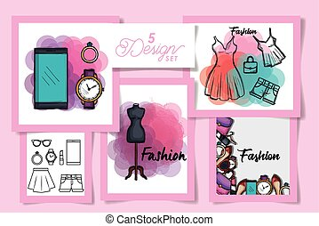 Five designs of female fashion cloth, Style wear store shop retail fabric and made theme Vector illustration