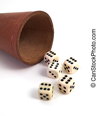 five dice and dice box on white background