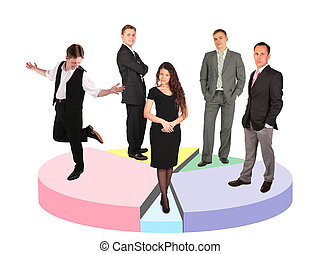 five different businessmen taking diverse position standing on circle diagram collage