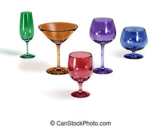 Five different colored glasses on a white background