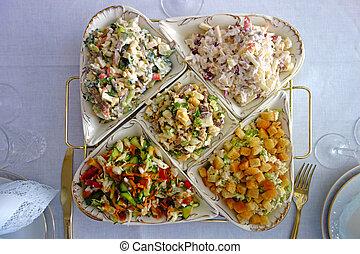 Five different complex salads
