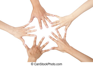 five different hands connected together and isolated on white