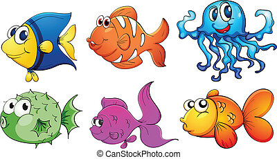 Five different kinds of sea creatures - Illustration of the...