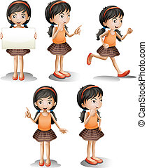 Five different positions of a girl - Illustration of the...