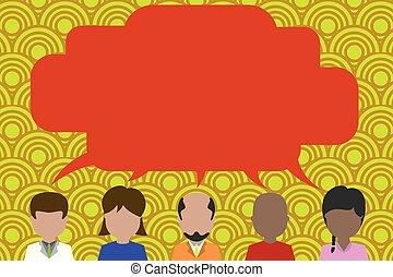 Five different race persons sharing speech bubble. Men, women, boy, having conversation each other. Short hair man, short hair woman, bald bearded man, bald boy, long hair girl