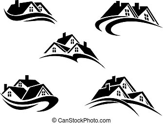 Five different real estate icons - Five different black and...