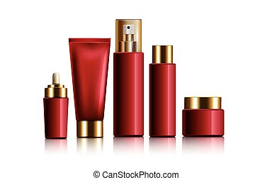 red cosmetic containers