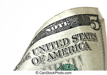 five dollar bill macro, grunge look - macro of a used...