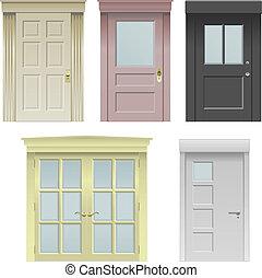 Collection of five vector doors in various styles