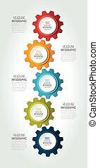 Five elements chart, scheme, diagram, banner. 5 Infographic template.