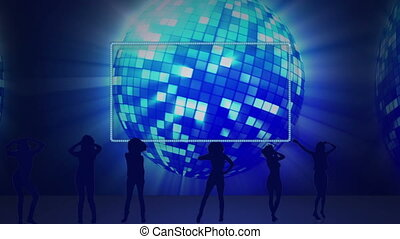 Five empty spaces against a disco b