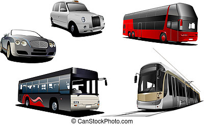 Five examples of city. Vector illustration