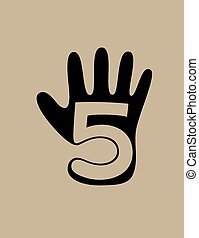 Five finger logo, art vector design