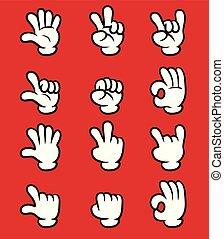 Cartoon white glove hand five finger gesture collection set.