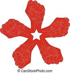Five fists abstract symbol with five point star, black and white