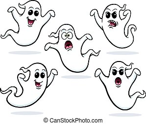 Five Flying Ghosts - Cartoon of five flying ghost characters...