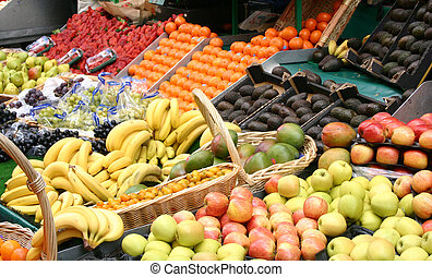 Display of fesh fruit on stall in a French market
