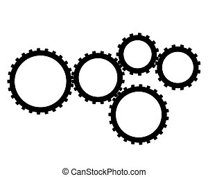 five gear on a white background