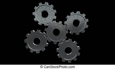 Five gears spinning flies out one and become in one mechanism interacts. Black background. Alpha channel