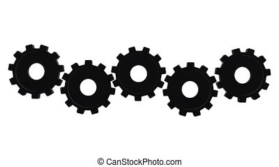 Five gears spinning in different directions. White...