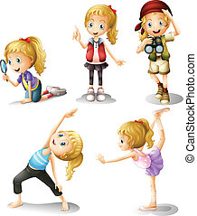 Five girls doing different things - Illustration of five...