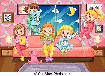 Five girls having slumber party at night illustration